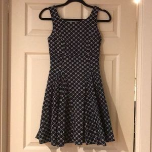 Navy and white A-line dress